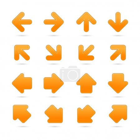 Orange arrow sign sticker web button. Vector saved in EPS 10. Blank satin shapes with gray drop shadow on white background.