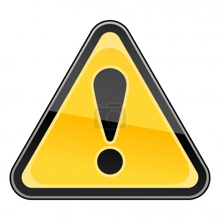 Hazard warning attention sign with exclamation mark symbol on white.