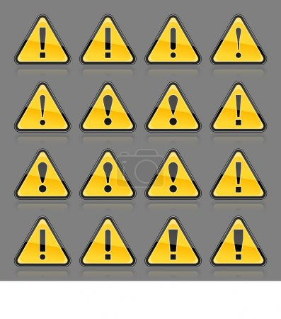 Yellow hazard warning attention sign with exclamation mark. Rounded triangle shape with color reflection on gray background. 10 eps