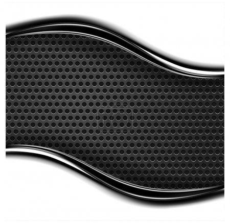 Illustration pour Texture métallique perforée. Fond noir et blanc avec bande ondulée chromée dans un style industriel moderne. Espace vide pour le texte ou le signe - image libre de droit