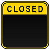 Black closed blank caution sign on white