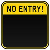 Black no entry blank caution sign on a white
