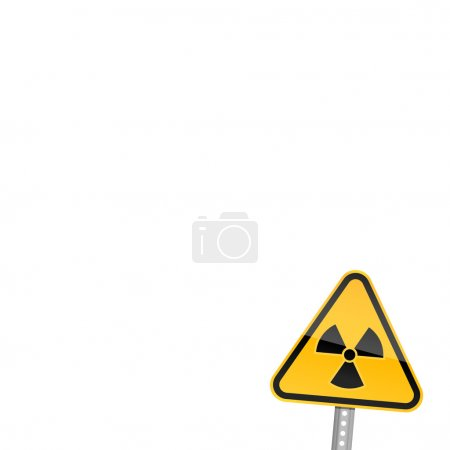 Small yellow road warning sign with radiation symbol