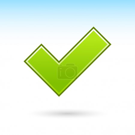 Green check mark icon web 2.0 button with gray drop shadow on white background