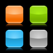 Colored glassy blank web 20 button Rounded square shapes with reflection on black background