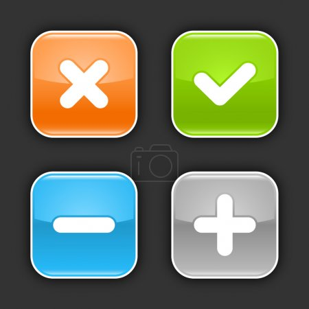 Illustration for Colored glossy rounded square buttons with validation sign with shadow on gray. 10 eps - Royalty Free Image