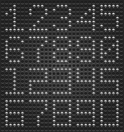 Illustration pour Police numérique à chiffres. Boutons métalliques sur fond de texture perforée pointillée noire. Montage facile et rapide. Ce fichier enregistré dans un format 10 eps et contient des styles graphiques - image libre de droit