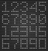 Digits digital font Metal buttons on black dotted perforated texture background Easy and quick editing This file saved in a format 10 eps and contains graphic styles