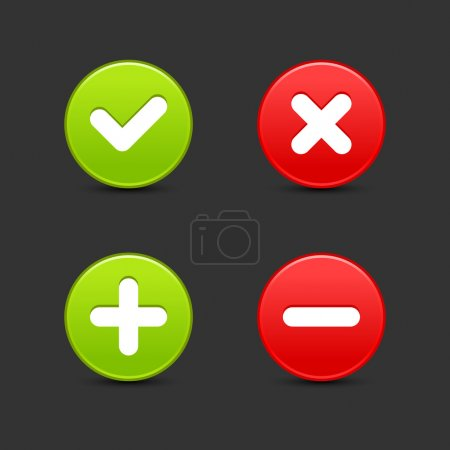 Satin smooth round web 2.0 buttons of validation icons with shadow on gray.