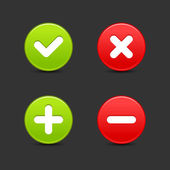 Satin smooth round web 20 buttons of validation icons with shadow on gray