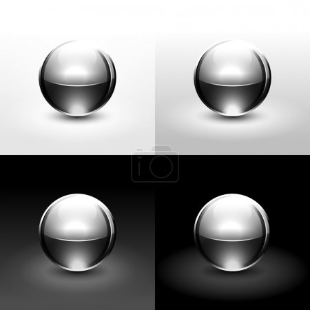 Chrome metal ball with drop black shadow and glowing on white, gray and black background
