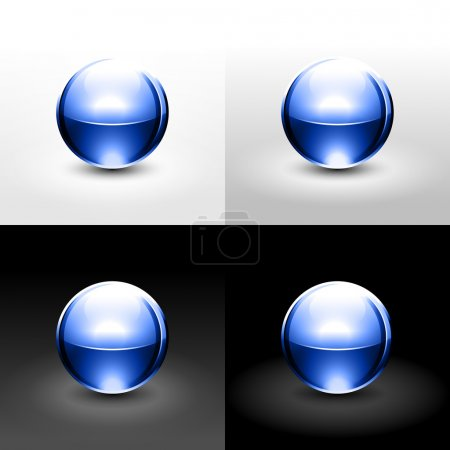 Blue chrome metal ball with drop black shadow and glowing on white, gray and black background