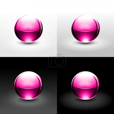 Pink ball with shadow and glowing on white, gray and black background.