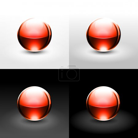 Red gloss ball with black shadow and glowing on white, gray and black background.