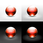 Red gloss ball with black shadow and glowing on white gray and black background