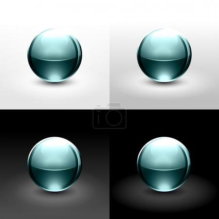 Turquoise glassy ball with shadow and glowing on white, gray and black background.