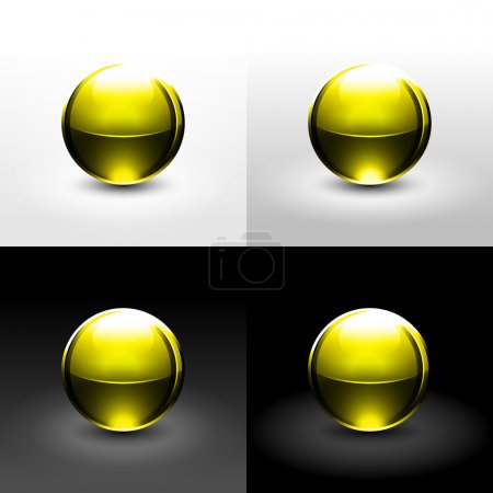 Yellow chrome metal ball with drop black shadow and glowing on white, gray and black background.
