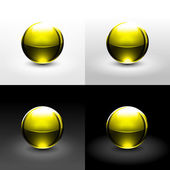 Yellow chrome metal ball with drop black shadow and glowing on white gray and black background