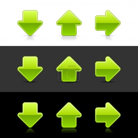 Green glossy arrow sign web 2.0 buttons with shadow and reflection on white, gray and black backgrounds