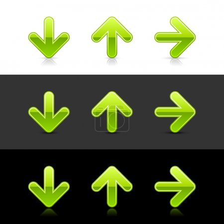 Green glassy arrow icon web 2.0 buttons with shado...