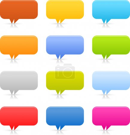 12 speech bubble web 2.0 buttons. Colored smooth shapes with shadow and reflection on white background