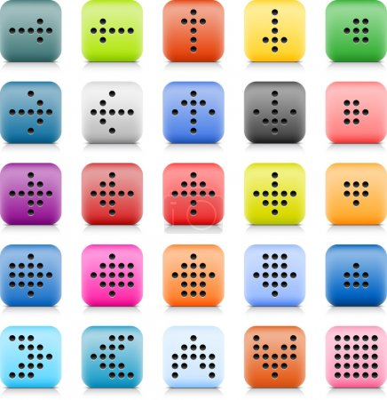 Stone web button with color dotted arrow sign. 25 variation rounded square icon with shadow and reflection on white background. This vector created in technique of wire mesh and saved file 8 eps