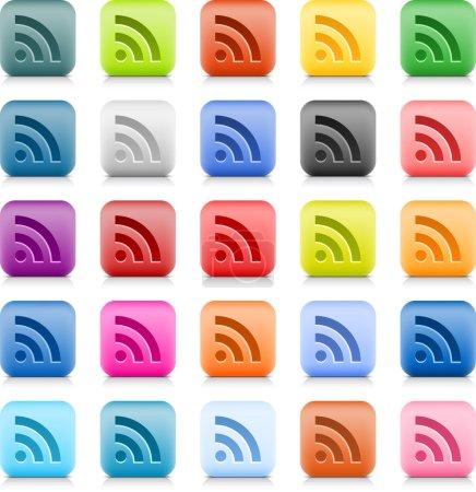 Ilustración de Piedra web botón con color signo Fuente rss. variación 25 había redondeado icono cuadrado con sombra y reflexión sobre fondo blanco. este vector creado en técnica de malla de alambre y guardado el archivo 8 eps - Imagen libre de derechos