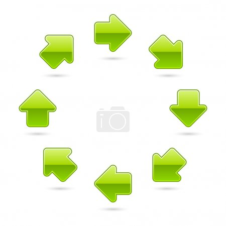 Green glossy arrow icon web 2.0 button with shadow...