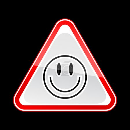 Red attention warning sign with smiley face symbol on black