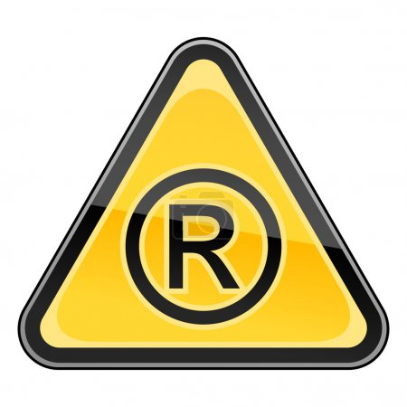 Yellow hazard warning sign with registered symbol on white background
