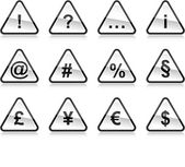 black warning signs with symbols Rounded triangle shape with color reflection on white background 10 eps