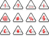 Red warning signs with symbols Rounded triangle shape with color reflection on white background 10 eps