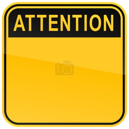 Illustration for Yellow warning blank attention sign on a white background - Royalty Free Image