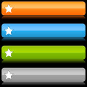 Glossy color rounded buttons with star symbol on black