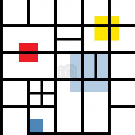 Seamless geometric suprematism pattern in style neo-plasticism abstract art