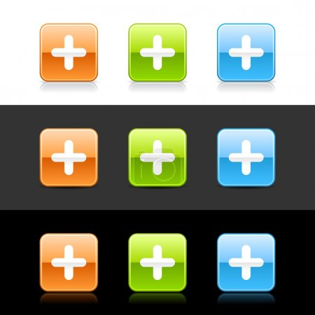 Glossy colored web 2.0 buttons with plus sign