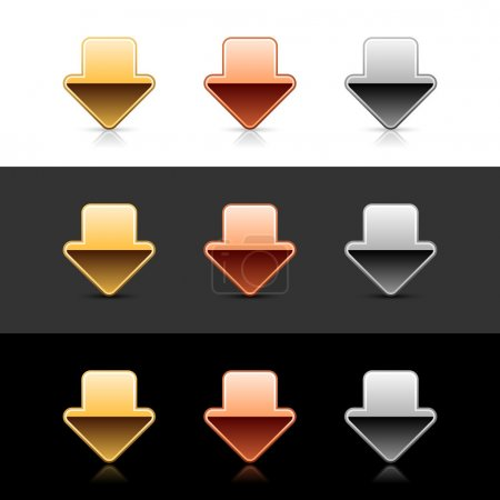 Luxury metal arrow down sign web 2.0 icon