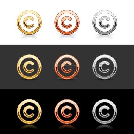 Illustration pour Luxueux bouton web 2.0 en métal avec ombre et réflexion sur blanc, gris et noir - image libre de droit