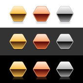 Luxory metal hexagon sign web 20 buttons with shadow and reflection on white gray and black
