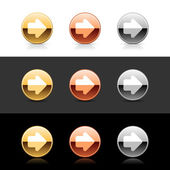 Metal web 20 buttons with arrow symbol Round shapes with shadow and reflection on white gray and black