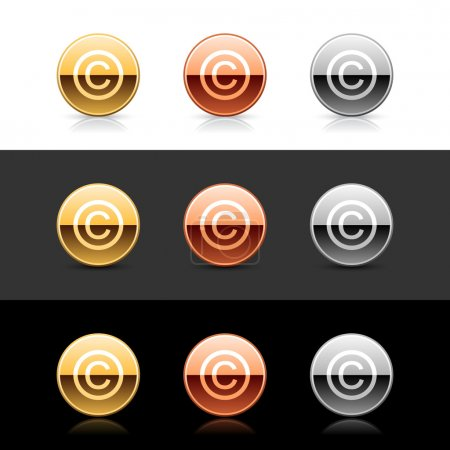 Metal web 2.0 buttons with copyright sign