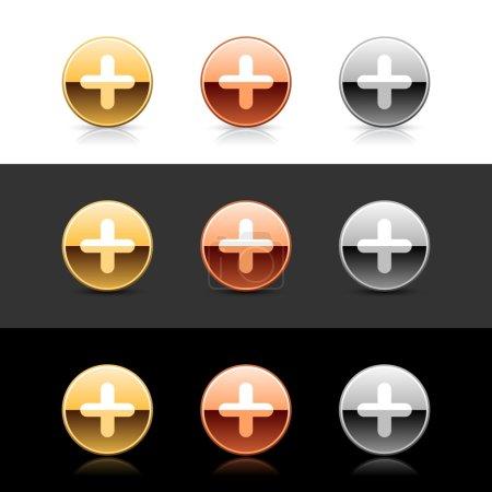 Illustration pour Boutons web 2.0 en métal avec signe croisé. Formes rondes avec ombre et réflexion sur blanc, gris et noir - image libre de droit