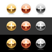 Metal web 20 buttons with cross sign Round shapes with shadow and reflection on white gray and black