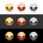 Metal web 20 buttons with star sign Round shapes with shadow and reflection on white gray and black
