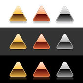 Luxory metal triangle web 20 buttons with shadow and reflection on white gray and black