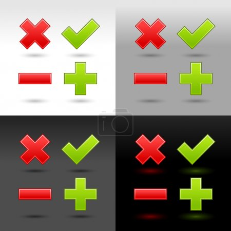 Satin smooth web button validation icons with drop shadow and reflection on four color background. This vector illustration created and saved in 8 eps