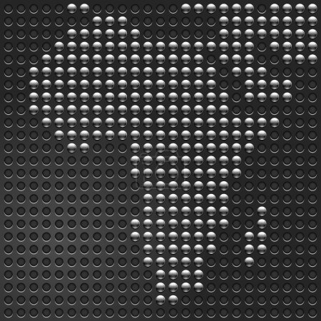Chrome metallic buttons Map of African continent on perforated metal texture black background.