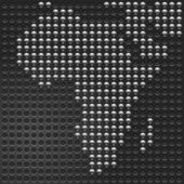 Chrome metallic buttons Map of African continent on perforated metal texture black background