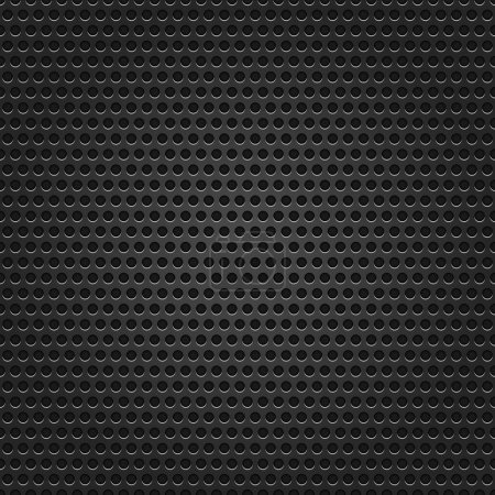 Seamless texture black metal surface dotted perforated background.