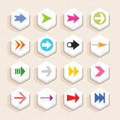 16 arrow sign icon set 02 (color on white) Hexagon button web internet shape with shadow on beige paper background with plastic texture Simple flat style Vector illustration design element 10 eps